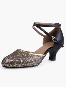 Image of Punta a mandorla caviglia suola morbida Glitter moda scarpe da sala da ballo