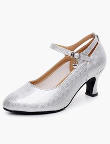 Image of Cinturino alla caviglia punta a mandorla smaltato PU scarpe da ballo professionale