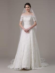 2018 vintage robe dentelle mariage Off épaule Dress(Veil not included) a-line Milanoo