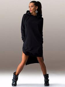 Robe droite sexy devant court derrière long avec poches à capuche