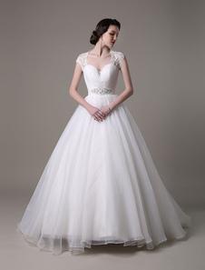 2018 Vestidos de novia Queen Anne escote vestido de novia Organza Rhinestones de encaje rebordear tren faja plisada vestido nupcial Milanoo