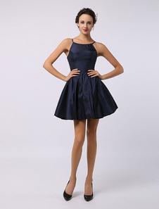 Image of 2020 spaghetti Strap taffettà corto Bridesmaid Dress Abiti per O