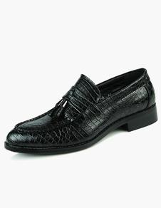 Dedo del pie puntiagudo borlas zapatos de vestir