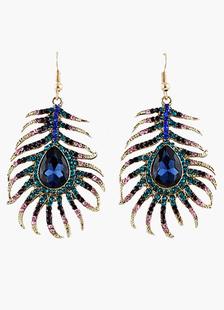 Image of Strass splendido blu pavone ciondola l'orecchino