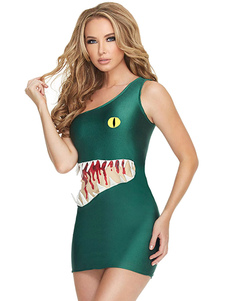 halloween-green-one-shoulder-shark-cosplay-costumes
