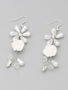 Image of Orecchini bianco imitazione perle nozze fatta a mano