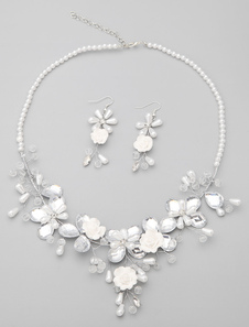 Blanco boda joyería conjunto de imitación de aleación perlas flor novia