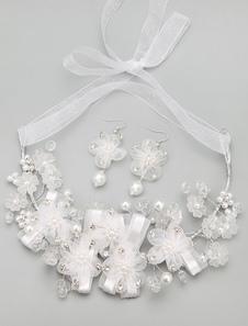 Blanco arcos boda joyería conjunto de la novia de diamantes de imitación