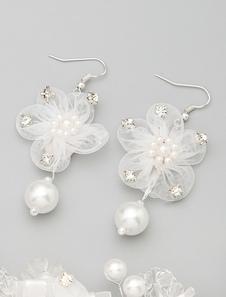 Blanca flor de perlas de imitación boda pendientes