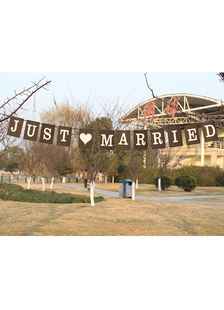 black-just-married-specialty-paper-wedding-decorations