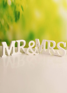 white-mr-mrs-wood-wedding-decorations