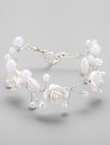 Image of Moschettone di bianco perla braccialetto in metallo fibbia