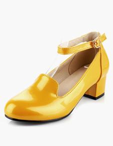 Amarillo patente PU tacón bajo para las mujeres
