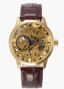 Marrón redondo forma esqueleto reloj para hombre