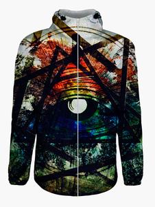 3D multicolor imprimir algodón mezcla sudadera con capucha para hombres