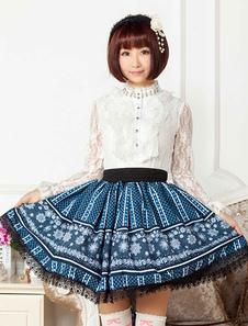 Image of Pizzo blu poliestere Lolita gonna per ragazze