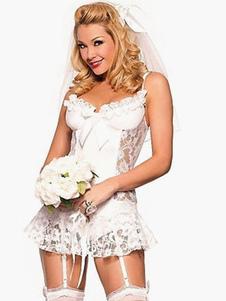 Blanco con volantes poliester peluches atractivos para las mujeres