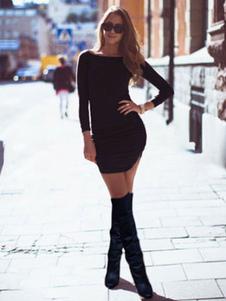 Image of Black Slim Fit Mini abito di cotone per donna