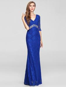 Azul medias mangas de encaje vestido de noche de ilusión con doble V-mire y abalorios