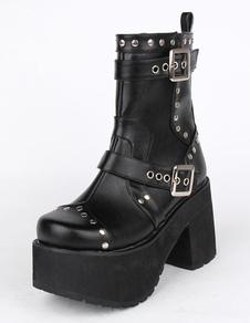 Black PU Platform Lolita Heel Boots for Girls