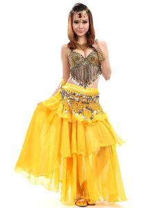 Image of Costume giallo 3-pezzo Chiffon danza del ventre per le donne