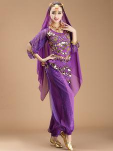 Image of Costume di danza del ventre Sexy viola per le donne