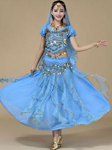 Image of Luce blu 5-Piece Chiffon danza del ventre Costume per le donne