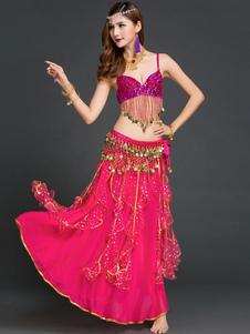 Image of Rosa rossa Chiffon danza del ventre 3 pezzi Costume per le donne
