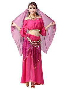 Image of Rosa rossa Chiffon danza del ventre Costume per le donne