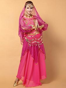 Image of Sexy rosa rosso Chiffon danza del ventre Costume per le donne