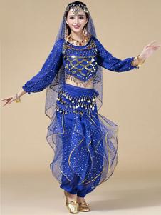 Image of Costume di danza del ventre in Chiffon blu profondo per le donne (3 pezzi)