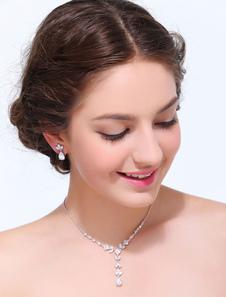 Aleación de plata geométrica conjunto de joyería de la boda