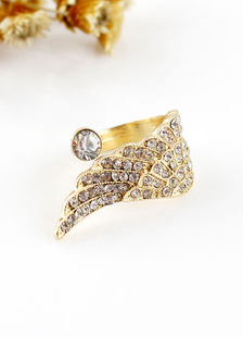 Ala de Angel oro Rhinestone aleación anillos para mujeres