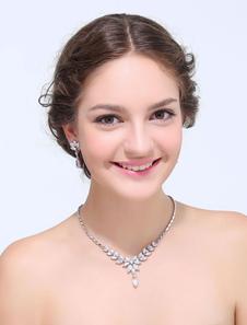 Aleación de gotas de plata Rhinestone boda joyería conjunto