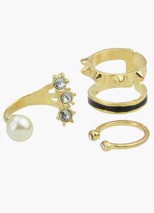 Aleación de 3 piezas oro anillo de apilamiento para las mujeres