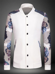 Floral Print Print Cotton Jacket for Men