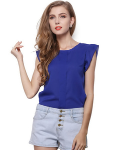 Image of Top in Chiffon maniche di petalo blu profondo per le donne