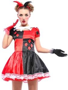 Harley Quinn Red poliéster fantasía Sexy