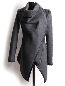 Image of Cappotto invernale delle donne Grigio Cotone irregolare in tubo di lana
