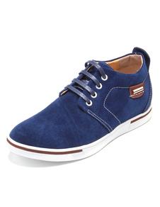 Azul marino gamuza cuero elevador Oxford zapatos para los hombres