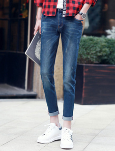Blue Denim Cropped Skinny Jeans For Men