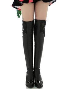 Image of Sopra gli stivali del ginocchio punta punta nera tagliato gli alti stivali del ginocchio dell'unità di elaborazione