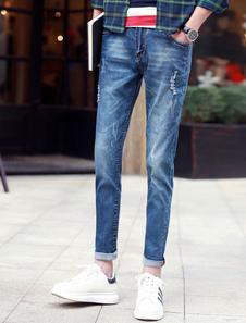 Blue Denim Skinny Fashion Jeans for Men