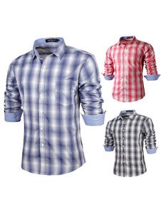 Azul algodón Plaid camisa Casual para hombre