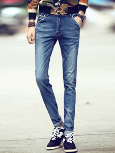 Blue Denim Skinny Jeans for Men