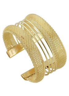 Aleación de oro contemporáneo geométrico pulsera para mujer