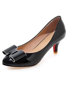 Black señaló Toe PU zapatos de tacón altos para las mujeres