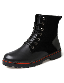 black-quality-round-toe-pu-boots-for-men