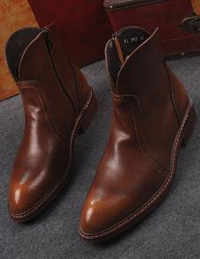 Image of Giallo Pointed Toe PU stivali per gli uomini