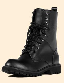 Image of Nero rotondo scarpe stivali inverno PU Martin stivali per gli uo
